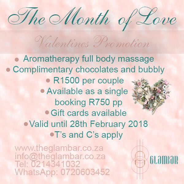 Aromatherapy Full Body Massage, complimentary chocolates & bubbly R1500 per couple or R750pp
