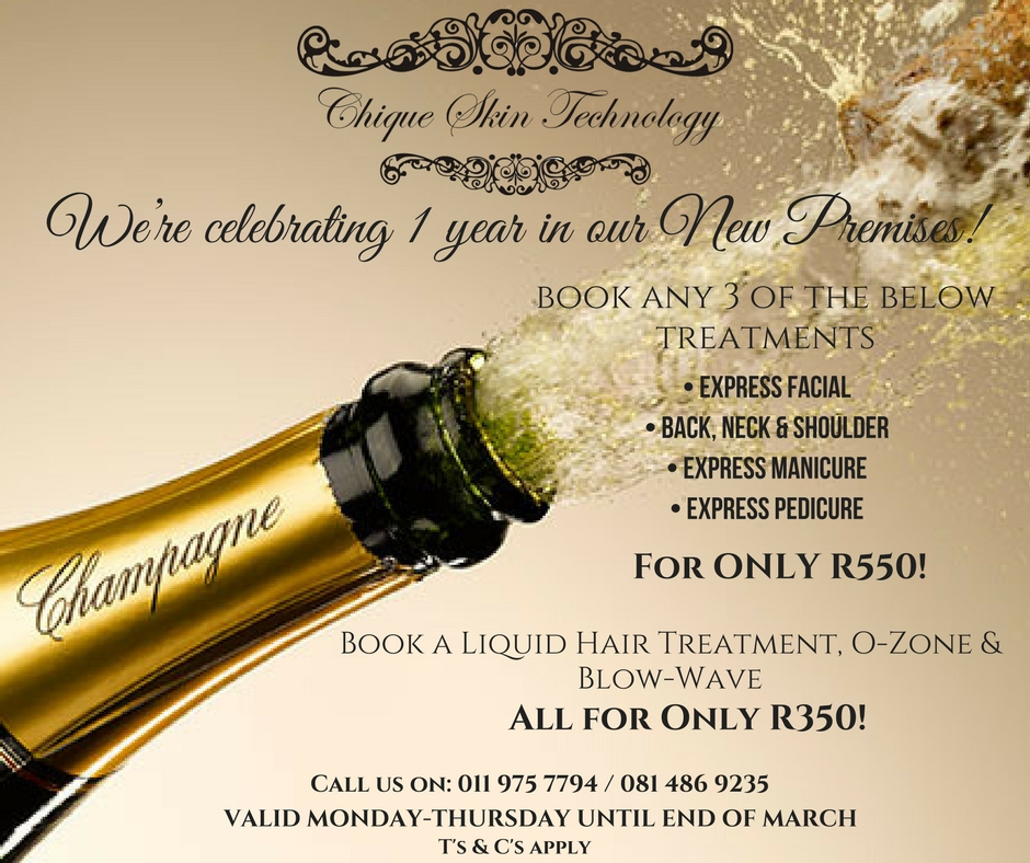 Book any of the following three treatments for R550: Express Facial; Back, Neck & Shoulder; Express Mani; Express Pedi
