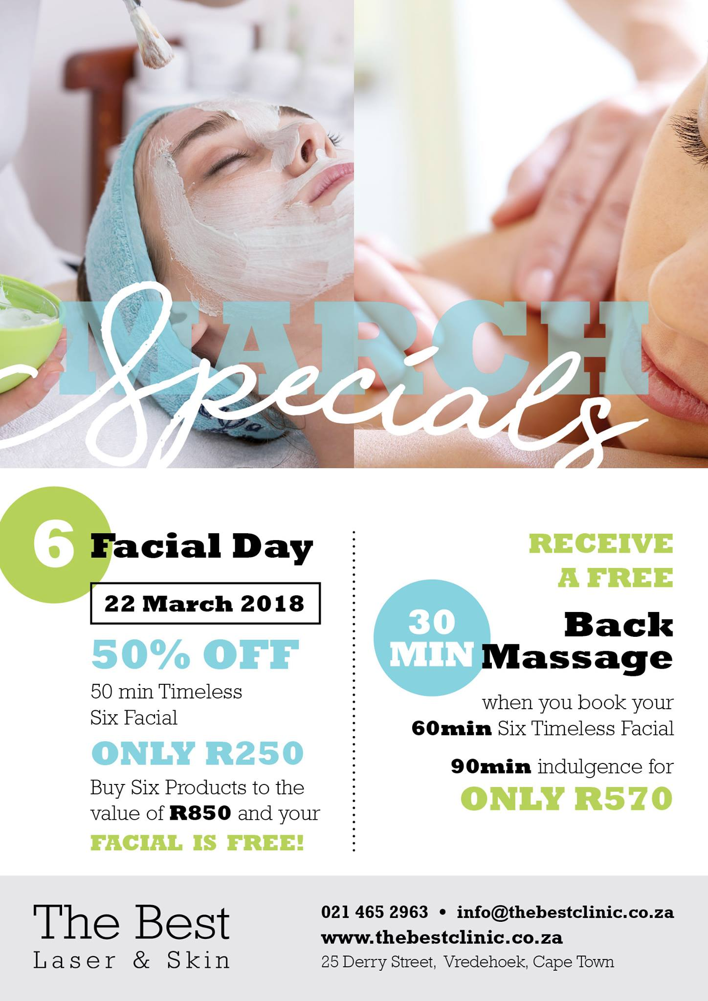 Book 60min Six Timeless Facial and Receive Free 30min Back Massage R570