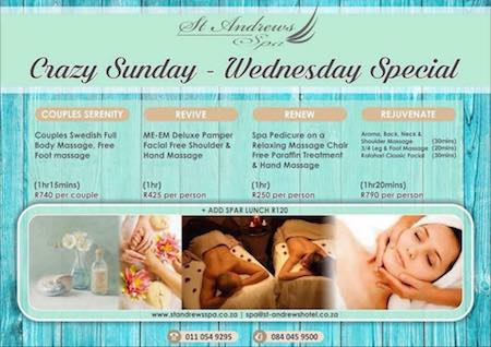 Sunday -> Wednesday Specials : Couples Swedish Full Body Massage & Free Foot Massage (1hr15min) R740 per couple