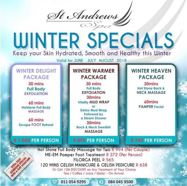 Winter Special: 30min Body Exfoliation, 60min Hotstone Full Body Massage & 60min Escape Foot Retreat R1055pp