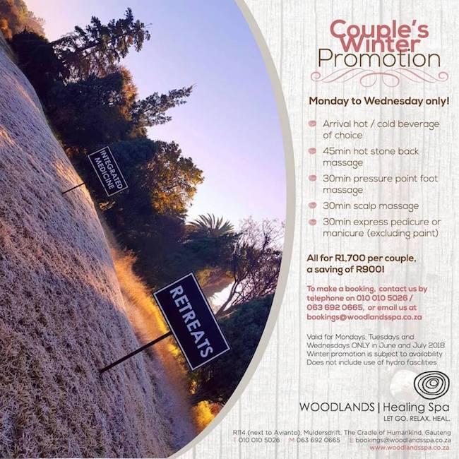 Couples Winter Promo: Mon-Wed ~ Massage, Pressure Point Foot Massage, Scalp Massage, Express Mai/Pedi R1700 per couple (Save R900)