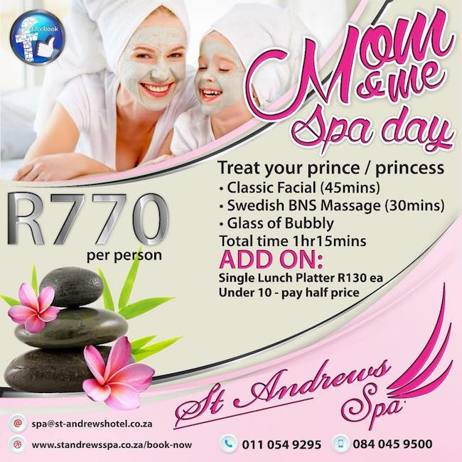 Mom & Me Spa Day: 45mic Classic Facial, 30min Swedish BNS Massage R770pp