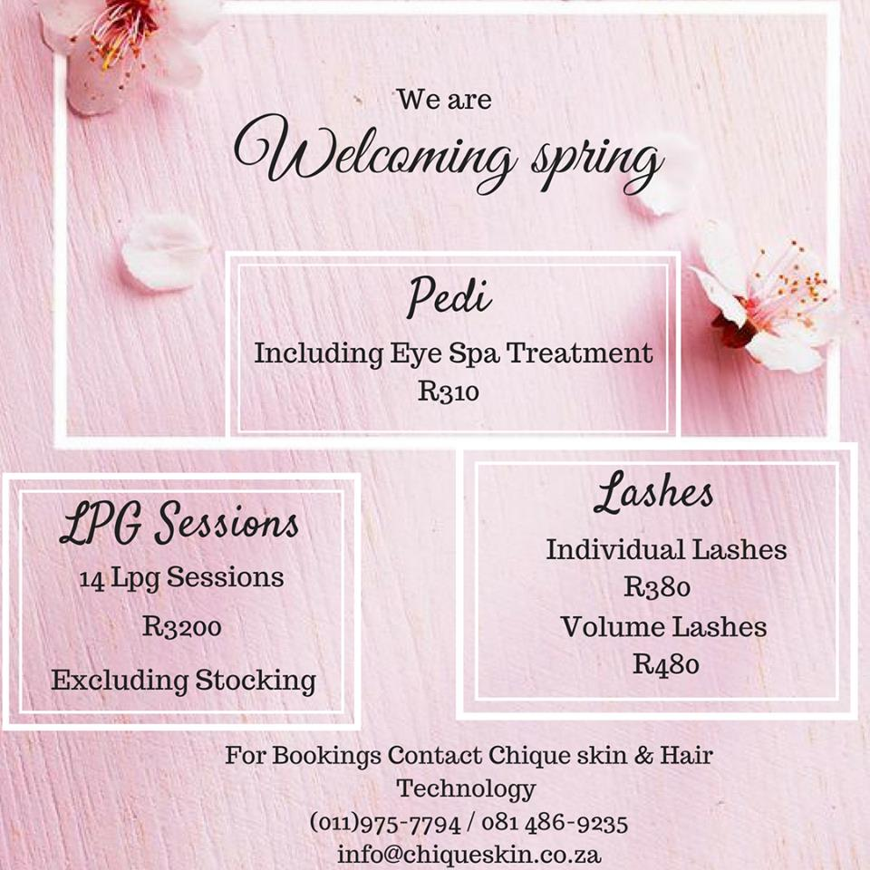 Spring Specials: Pedi with Eye Spa Treatement R310 and more...