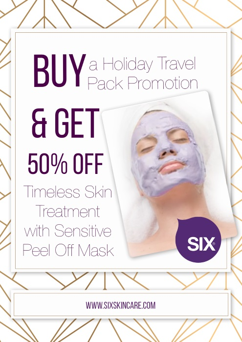 BUY a Holiday Travel Pack Promotion & GET 50% OFF Timeless Skin Treatment with a  Sensitive Peel Off Mask