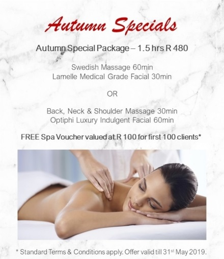 Autumn Special 1.5 hrs - Massage + Facial - only R480