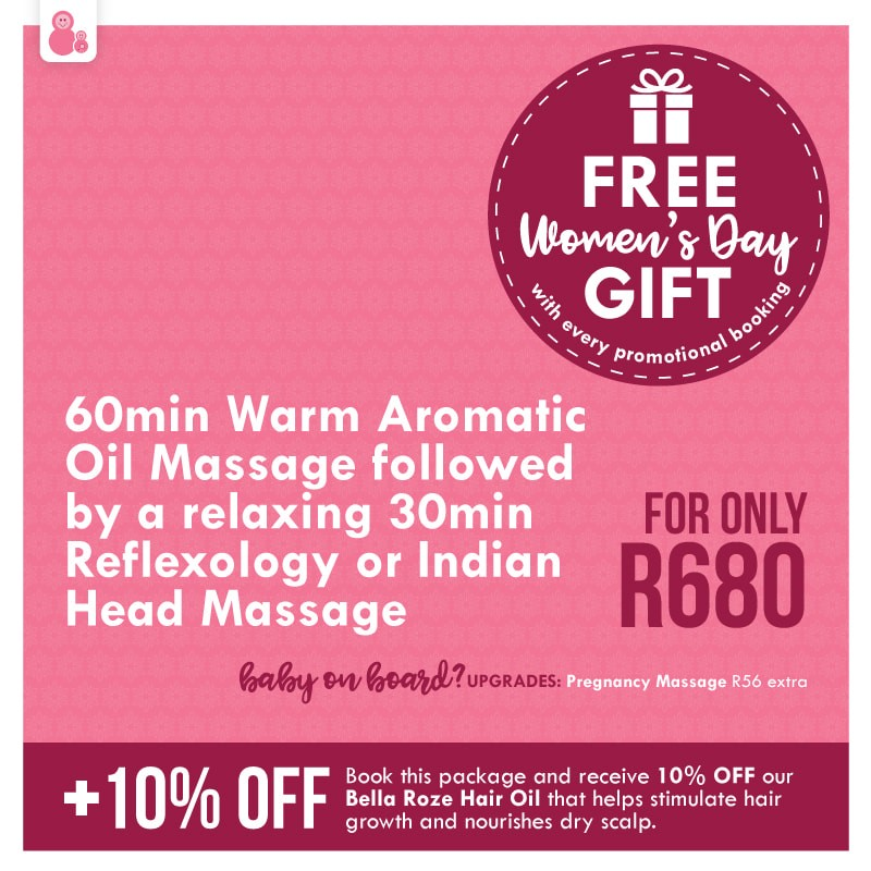 Receive  a free Women's day gift with each promotional massage package booked-only R680!