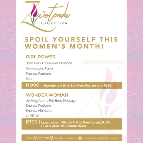 Spoil Yourself This Women's Month! GIRL POWER  Back, Neck & Shoulder Massage + Dermalogica Facial + Express Pedicure  2hrs R890