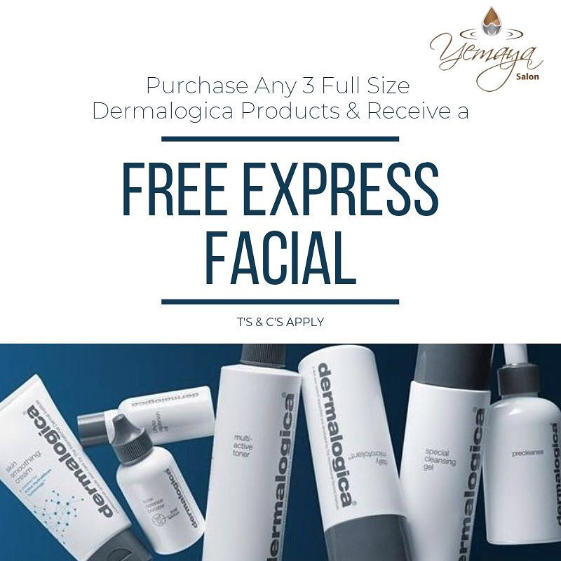 Visit our store and receive you're Free Express Facial when purchasing any 3 Full Size Dermalogica products