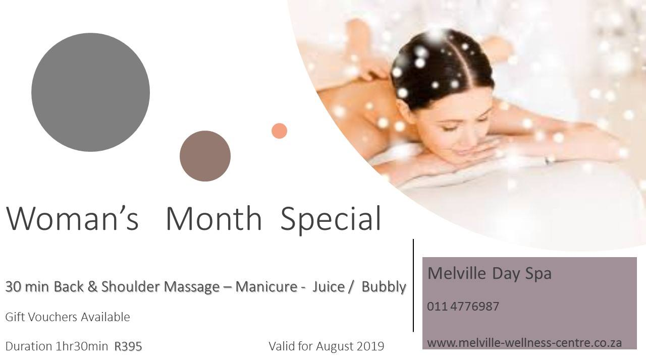 30 min back & shoulder massage, manicure, juice/bubbly for only R395.