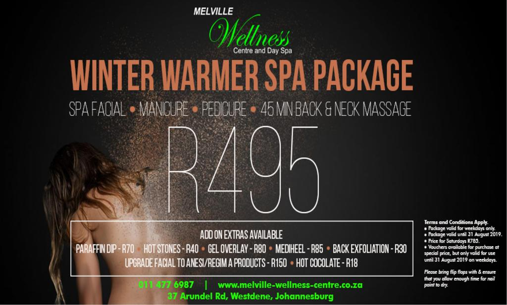Don't miss this Winter Warmers Spa Package including a mani, pedi, facial and massage only R495.