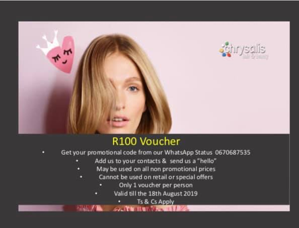 Get R100 off any non-promotional treatment during the month of August. Follow the instructions in the image.