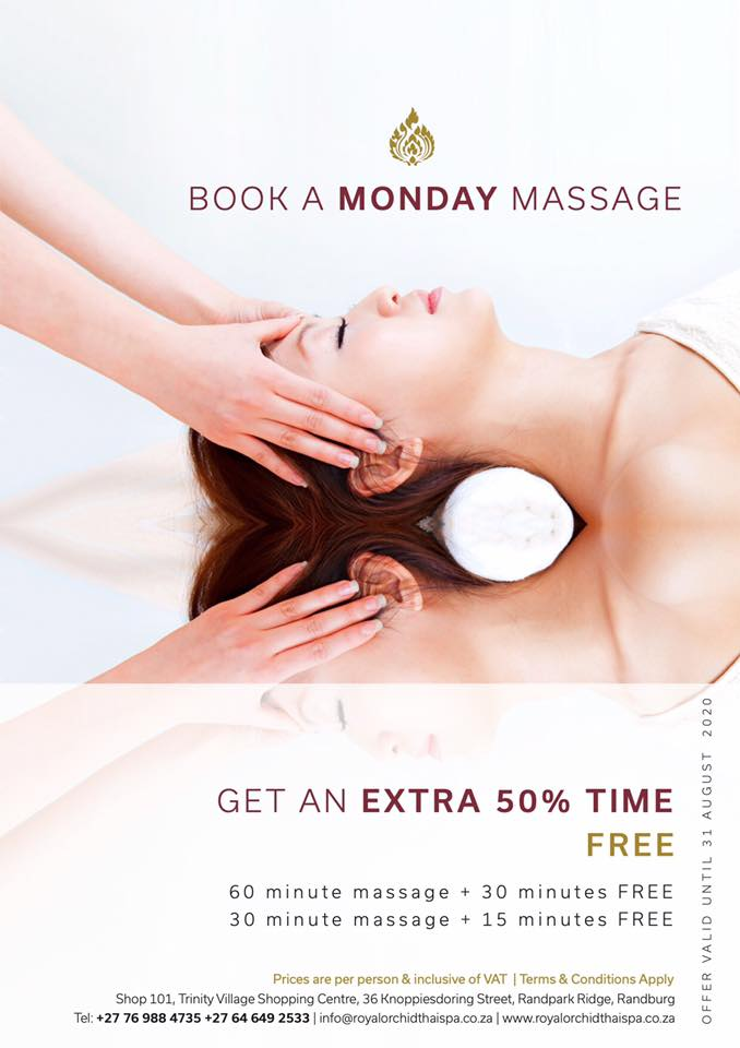 Get an extra 50% time free with a massage booked for a Monday