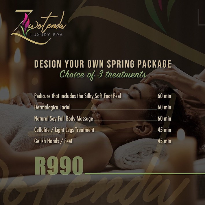 Design your own Spring Package (choice of 3 treatments) for only R990! Pedi including Foot Peel(60 min), Dermalogica Facial(60 min), Soy Full Body Massage(60 min), Cellulite / Light Legs Treatment(45 min) and Gelish Polish Hands / Feet(45 min)