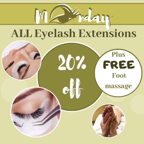 Spring into Summer Specials! Get 20% Off ALL Eyelash Extensions and get a FREE Foot Massage