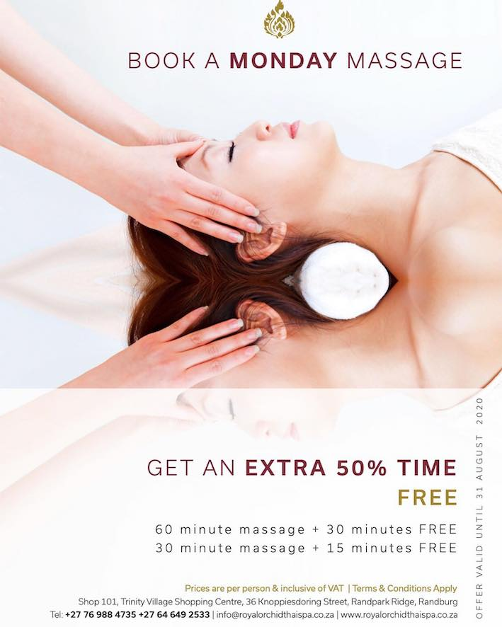 Book a massage on Mondays and get an extra 50% time free!