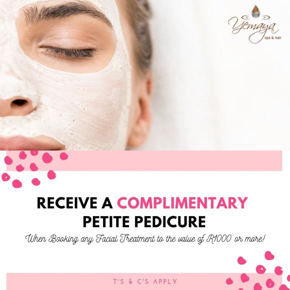 At Yemaya we recognise the importance of skin care, that is why we are offering a COMPLIMENTARY Petite Pedicure with every facial booked