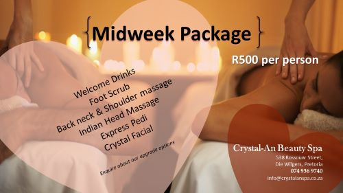 Amazing midweek special for only R500 per person for 3 hours of pampering!