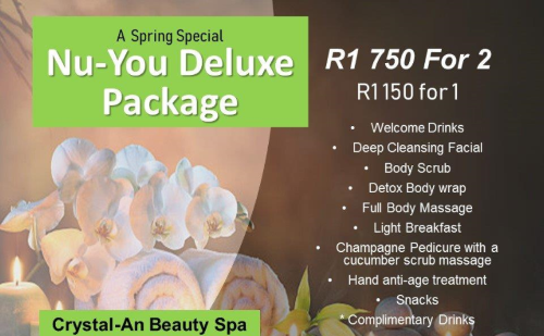 Nu-You Delux Pamper Package! Only R1150 for one person or R1750 for two people