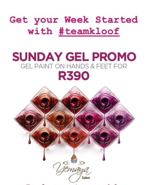 Sunday Gel Promo for only R390 for hands and feet