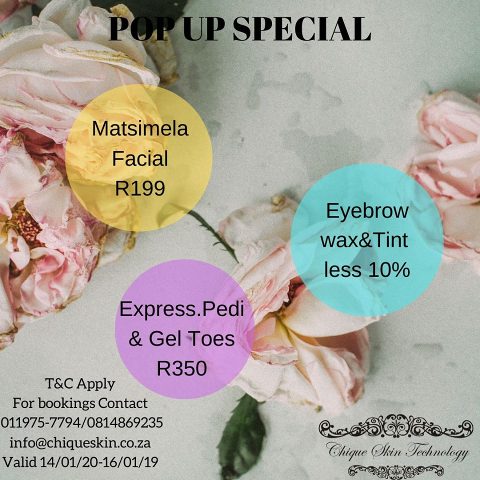 Choose your self and dont miss out on our POP UP SPECIAL