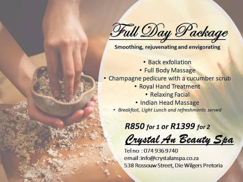 Book a Full Day  pamper package for yourself or you and a partner