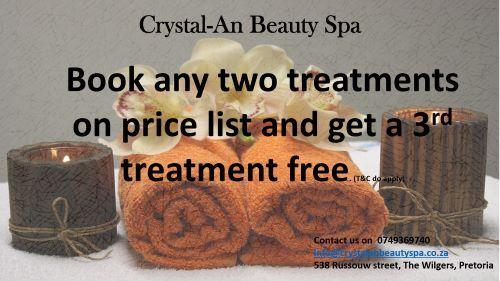 Book two treatments and get a third treatment for free