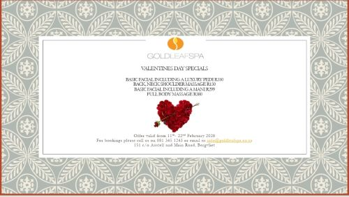 Feel Golden with our amazing Valentines specials between 11 - 22 February 2020