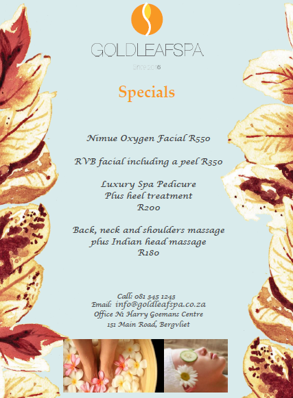 Treat yourself this month to our range of Gold Leaf Spa Specials