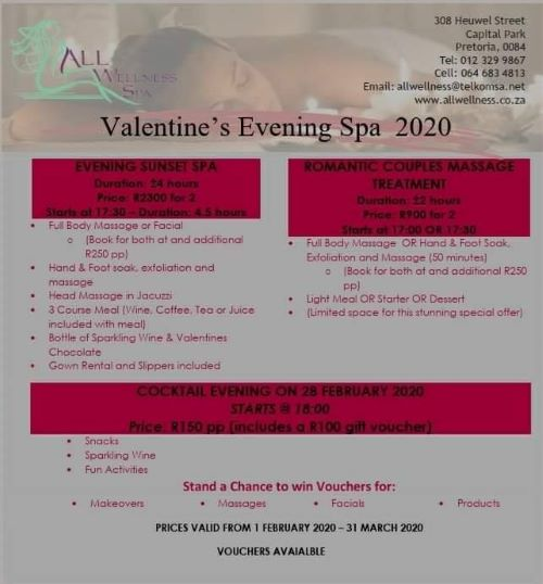 Valentines Evening Spa 2020 with All Wellness Spa this February and March 2020!
