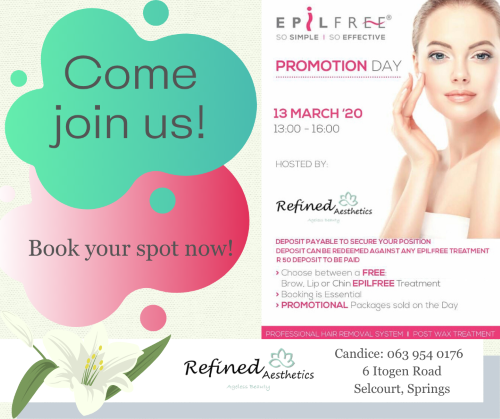 Enjoy a complimentary EpilFree treatment on 13 March 2020