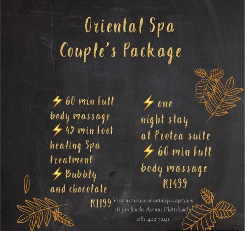 Come and enjoy one of our Couple's Packages for NOVEMBER!