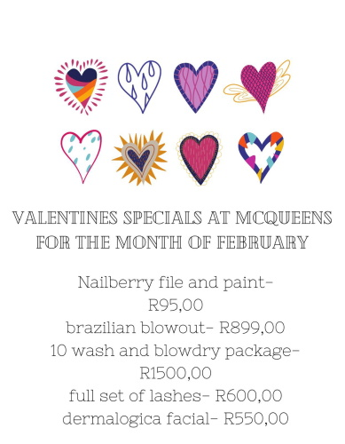 VALENTINE's Specials for the month of FEBRUARY!!!