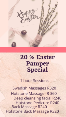 20% OFF Easter Pamper Special on 60min treatments