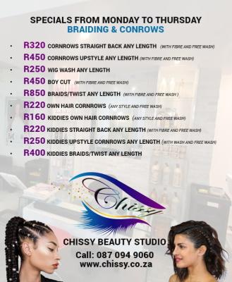 SPECIALS Monday to Thursday - Braiding & Conrows