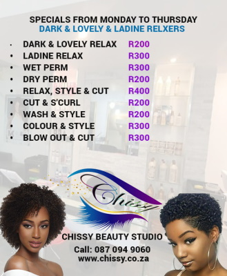 SPECIALS Monday to Thursday - Dark & Lovely & Ladine Relaxer