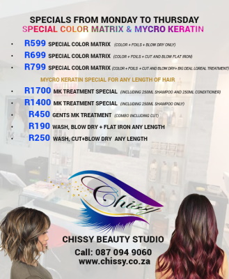 SPECIALS Monday to Thursday - Special Colour Matrix & Mycro Keratin