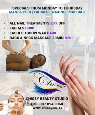 SPECIALS Monday to Thursday - Mani & Pedi / Facials / Massage / Waxing