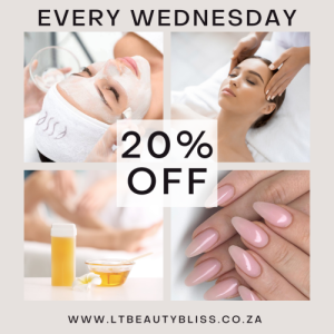 Wednesday SPECIAL every week!    20% OFF any treatment over R100